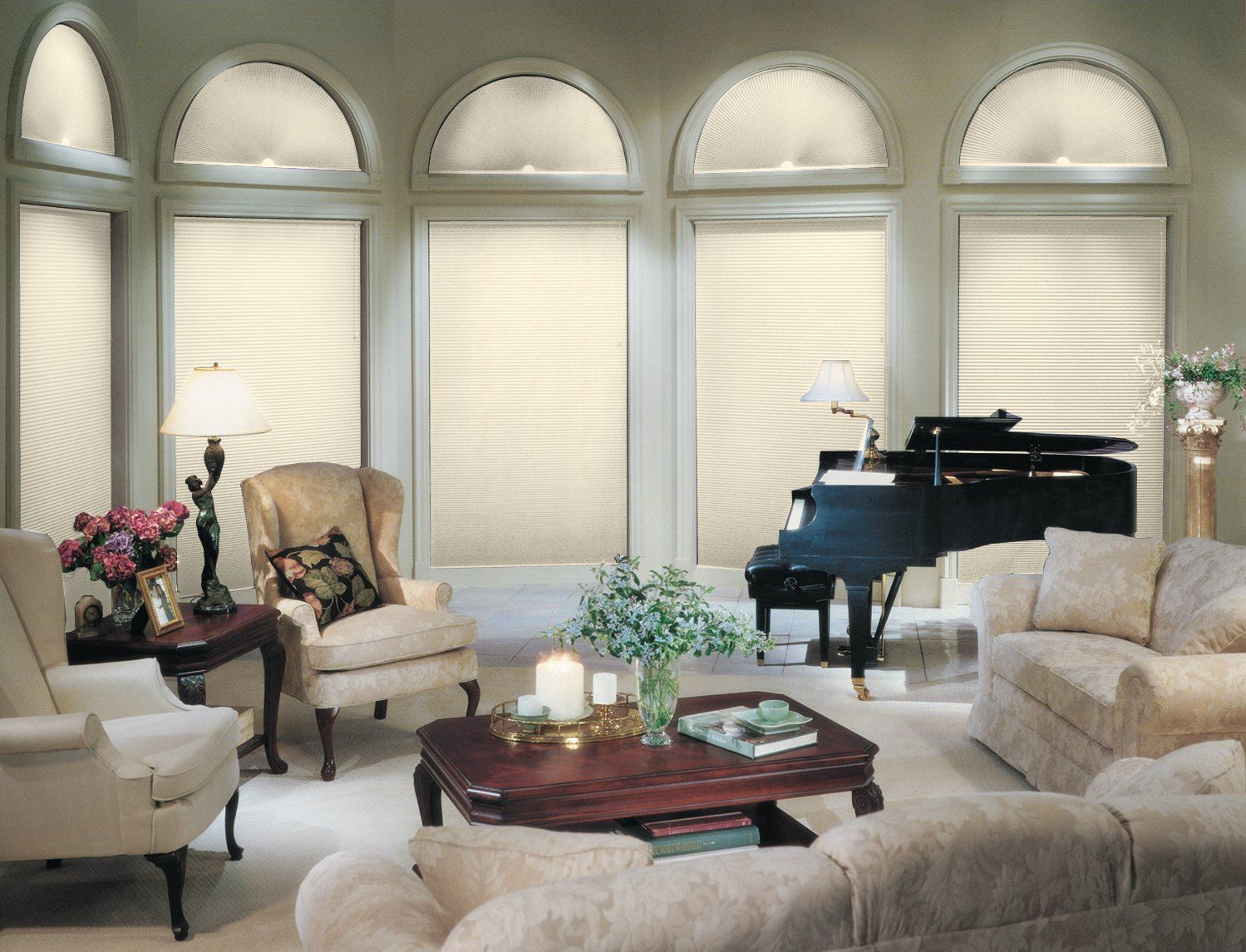 diamondcell blackout arch diamondcell blackout cellular shade paired with