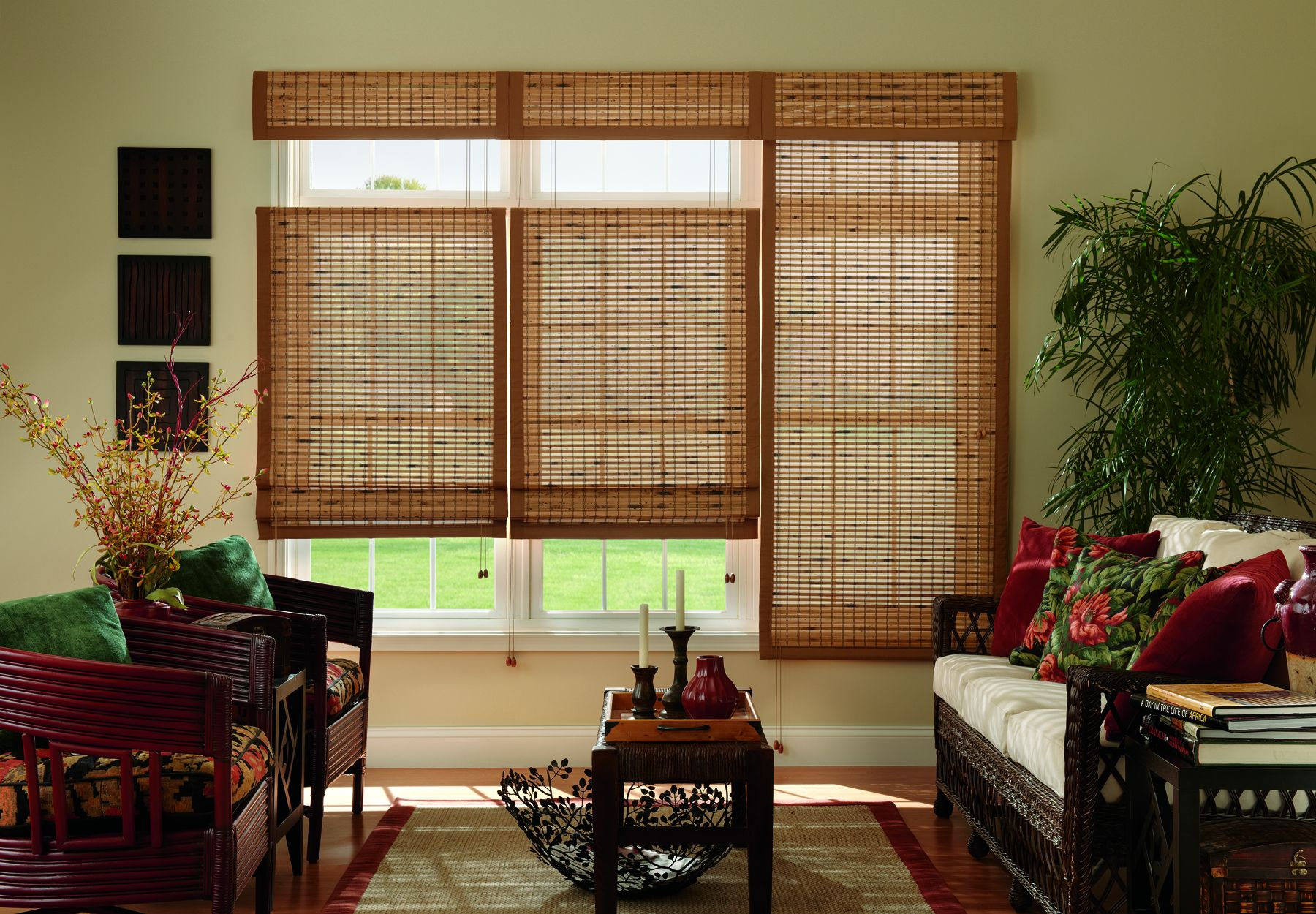 Light Filtering Dark Brown Wood Bamboo Shades Natural Shades